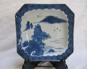 Vintage Japan Imari Plate Blue White Octagon Square