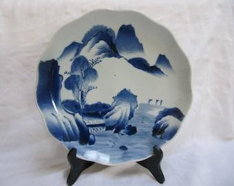 Vintage Japan Imari Blue White Wavy Edge Plate Large