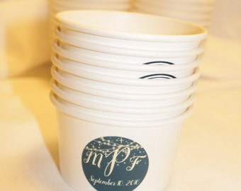 50 White Paper Ice Cream Cups - 8 oz with Custom stickers