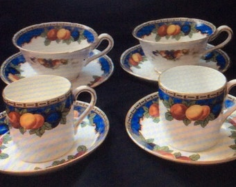 Set of four english cups & saucers old english grosvenor china pattern 6464