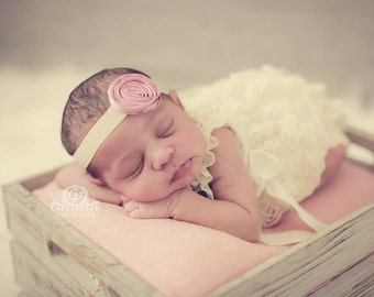 CONVO Me ABOUT SALE: Rose Rolled Ribbon Headband  Newborn Headband, Infant Headband, Toddler Headband, Photo Prop, Many Colors