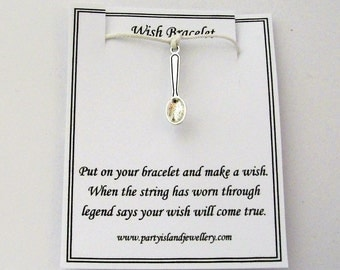 White SPOON TEASPOON Friendship Wish Bracelet with Wish Message Card