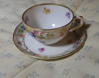 Vintage Small Cup and Saucer from Schumann Arzberg in Germany Empress Dresden Flowers
