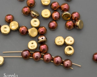 Crystal California Gold  Rush Czech Glass Two Hole Cabochon Glass Beads - 25 beads - 3038 - Crystal California Gold Rush 2 hole 6mm Cabochon