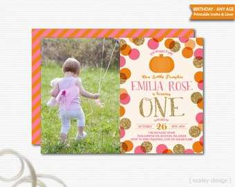 Pumpkin Invitation Printable Photo Invitation First Birthday 1st Birthday Invitation Pumpkin Party Little Pumpkin Invitation Gold Glitter