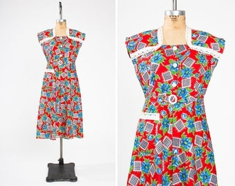 Vintage 1930s Red Floral Cotton & Eyelet Feed Sack Dress