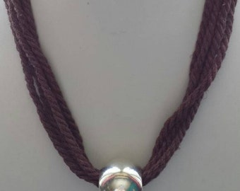 Multistrand Brown Twisted Rope Necklace with Chunky Silver Bead
