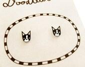 Super Tiny Boston Terrier Shrink Plastic Stud Earrings