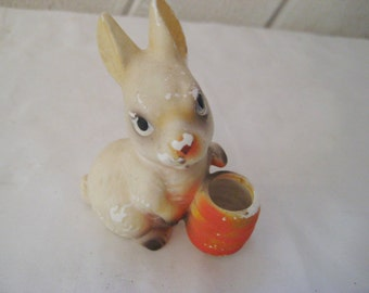 Vintage rabbit statue, bunny figurine, collectible, vintage Easter decor, long eared bunny, mid century, distressed rabbit, rustic decor