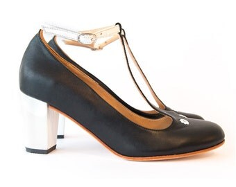 Prince B & W  - High heels in black and white leather. Handmade in Argentina by Quiero June - Free shipping