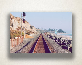 Train Tracks by the Beach Canvas Art, Train Tracks Wall Art, Beach Canvas Print, Photograph, Canvas Print, Home Art, Wall Art Canvas