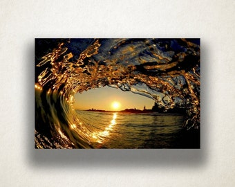 Funnel Wave Sunset Canvas Art, Funnel Wave Wall Art, Surf Canvas Print, Oceanic Wall Art, Photograph, Canvas Print, Home Art, Wall Art