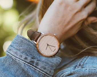 Wood Watch, Cherry Wood Rose Gold Watch, Brown Leather Strap - HELM-CR