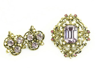 Art Nouveau Brooch and Earrings Set - Pink Purple and Pearl Jewelry Set