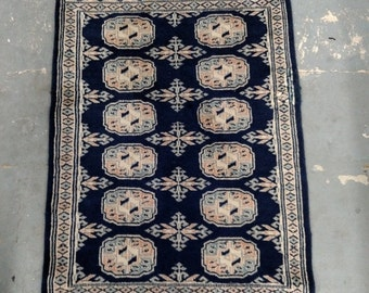 SUMMER CLEARANCE 1980s Vintage, Hand-Knotted, Bokara Rug (1047)
