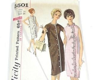 60s One Piece Dress Pattern - Simplicity 5501 - Size 14 - 1964 Dress Pattern - Vintage Pattern