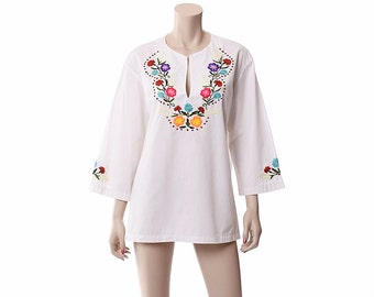 Vintage 60s 70s Mexican Embroidered Floral Tunic Top 1960s 1970s Hippie Festival Hand Embroidery Blouse Boho Gypsy Shirt