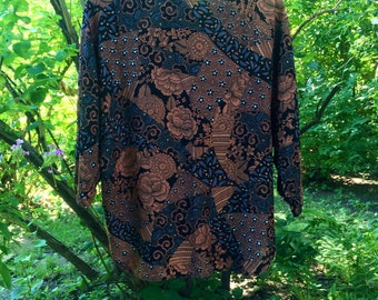 Boho brown patterned blouse (L)