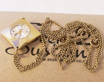 Vintage Gold Ladies Watch, Sekonda Watch, Wind Up Watch, Gold Plated Watch, NecklaceWatch, Ladies Watch, 21 Jewel Watch