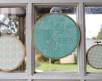 3 piece set - I Love New York - embroidery hoop/NYC, NY/handmade embroidery hoop/girls who travel/new york city map/chevron/Christmas gift