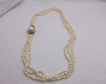Vintage Pearl Necklace with Unique Closure w Free Shipping