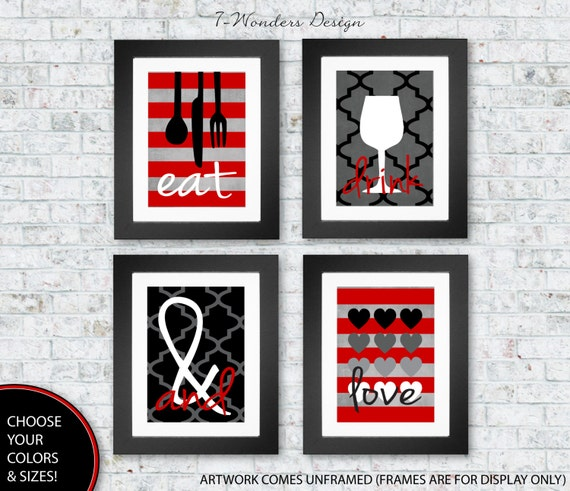 Art Prints For Kitchen Wall: Modern Kitchen Art Prints Eat Drink And Love Set Of 4 4 X