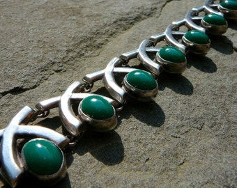 Taxco Silver Vintage Mexico Sterling Bracelet, FarFan, Green Onyx Bracelet, Silver and Green Onyx Jewelry