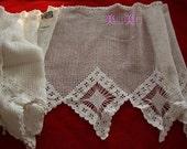 """10.6""""x198"""" Wide Crochet Valance cafe Curtain~White~Cotton en item no 1129a"""
