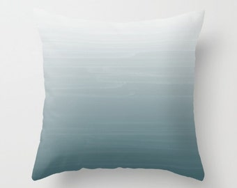 White to Duck Egg Gradient Ombre Painted Appearance /Zippered Pillow Art cushion case cover / Indoor or Outdoor 2-Sided 16X16 18X18 20X20