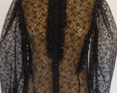 80's Blouse Romantic Sheer Black Lace Ruffle Neckline Victorian Style Evening Party Top Made by Shapely Size S