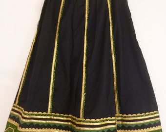 1980's India Skirt Cotton Full Mid Calf Length Embellished with Gold Ric Rac  Green Applique Tribal Style Festival Attire Size S