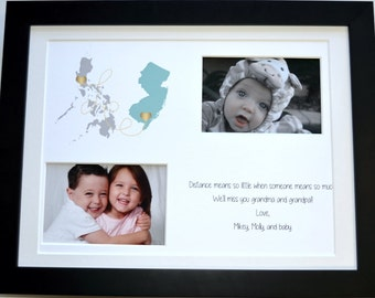 Grandparents day gift, grandma, grandparents, grandkids, long distance gift for grandparents, customized map art print, personalized gift