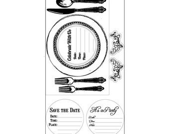 Sizzix - Interchangeable Clear Stamps - Placemat Invite by Jen Long