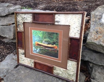 White Birch Picture Frame (11x17) - canoe on the pond