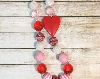 Valentine Heart Pendant chunky beaded necklace