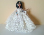 Monster Doll Wedding Dress with Veil, Petticoat, and Purse