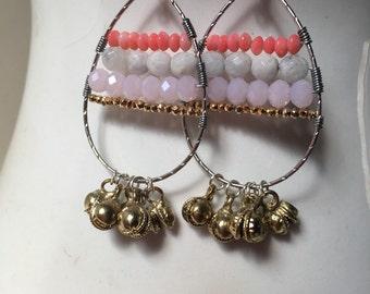 Beaded Teardrop Earrings, Wire wrapped Earrings, Bell Earrings, Semiprecious Stone Earrings
