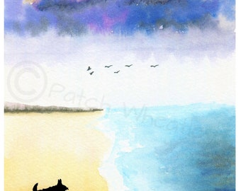 Scottie Dogs  Watercolour soft textured Paper Art Print 'Beach' A5 Scottish Terriers