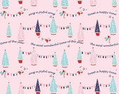Pixie Trees Pink for Riley Blake Cotton Pixie Noel Collection Tasha Noel Pink Christmas Fabric Christmas Tree Fabric Pink and Aqua