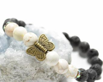 Butterfly bracelet, black and white jewelry, black lava beads, white Howlite gemstones, stretch bracelet, stacking bracelet,
