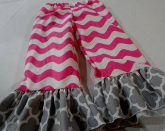 Ready to Ship Pink Wave with Gray Quatrefoil Ruffle Pants