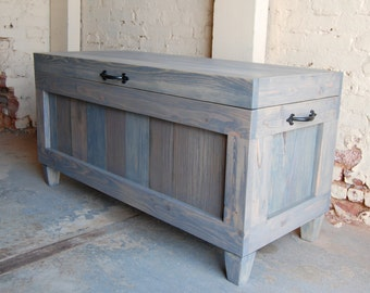 Hope Chest/ Wooden Chest/ End of Bed Bench/ Entryway/ Bench/ Wedding/ Grey