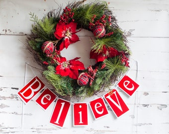 Christmas Banner, Believe Banner, Red Glitter Holiday Banner, Holiday Banner, Christmas Garland