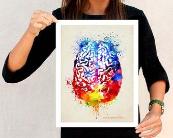 "Watercolor Brain, 11"" x 14"" Fine Art Print, Anatomy Medical print, Neurologist Gift, Nurse gift, Neurosurgeon gift, Psychologist gift"