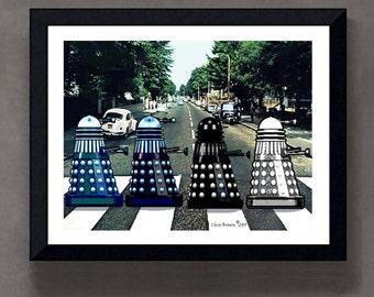 """Abbey Road Daleks - 8"""" x 10"""" Fine Art Print - Geek gift, Doctor Who gift, Doctor Who Fans, Sci-Fi art"""