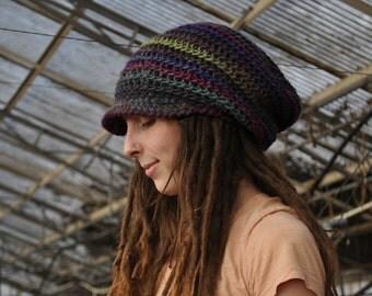 Custom Slouchy Crochet Spiral Beanie with Bill // Handmade to Order 100% Wool Tam