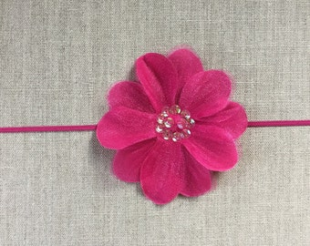 Bright pink silk flower headband