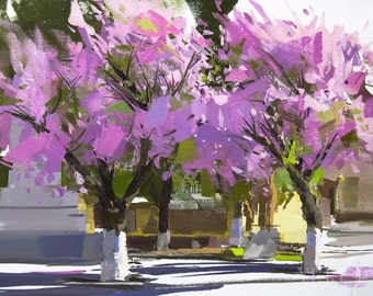 Spring Tree Oil Painting, Sakura Painting Contemporary Art Landscape Artwork Bodacious Wall Canvas Art Springtime