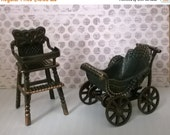 ON SALE Dollhouse Baby Furniture - High Chair and Carriage Pram