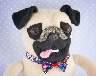 Pug in a Floral Bow Tie, handmade soft art toy